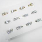 Gold & Silver Crystal Stone Wedding Band Sets (50)  .54 ea