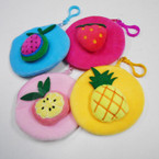 "4.5"" Fruit Theme Zipper Coin Purse w/ Clip .54 each"