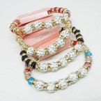 BEST BUY Crystal Beaded Bracelet w/ Fireball Cry. Beads  .54 each
