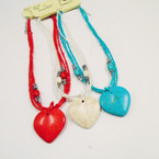 Multi Line Seed Bead Necklace w/ Heart Stone Pendant .56 each