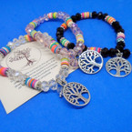Crystal Bead & Fimo Disc Stretch Bracelet w/ Tree of Life Charm  .54 ea