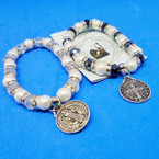 Pearl & Crystal Bead Bracelets w/ San Benito Dbl Side Charm .54 each