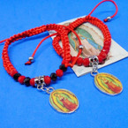 All Red Macrame Bracelet w/ Guadalupe Charm .54 each