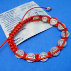 All Red Macrame Bracelet w/ San Benito Charms .54 each