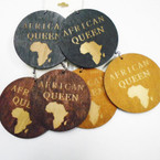 "3 Color 2.5""  Wood Earrings African Queen Earrings  .52 each"