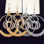 "2.5"" Fashionable Gold & Silver Multi Frosted Loop Earrings .52 ea"