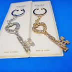"""3"""" Elegant Gold & SIlver Crystal Stone Keychains .56 each"""