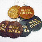 "2"" Black Queen Saying Wood Earrings Round .52 each"