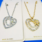 Classy Gold & Silver Crystal Stone DBL Heart Necklace Sets .54 ea set