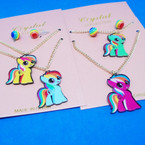KId's 2 Pack Pony Pendant Necklaces on Gold Chain .54 per set