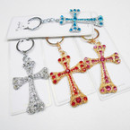 """Great Quality 3"""" Crystal Stone Cross Keychains Gold/Silver .54 each"""