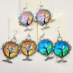 Colorful Silver Frame Tree of Life Fashion Earrings .54 ea