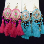 Fashionable 3 Line Tassel Style Earrings Asst Colors .54 ea