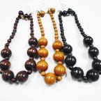 Chunky Wood Bead Fashion Necklace Set 3 colors .54 ea set