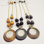 Fashionable Gold Chain & Wood Necklace Sets .54 ea set 3 colors