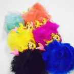 Mixed Color Faux Fur Ball Keychains w/ Mermaid  .50 each