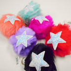 Mixed Color Faux Fur Ball Keychains w/ Sparkle Star .50 each