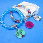 Brilliant Crystal Beaded Stretch Bracelet w/ Tree of Life Charm .54 each