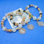 San Benito Charm Bracelet w/ Gold & Crystal Beads .54 each