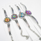 Cast Silver Fashion Bracelet w/ Round Psychedelic Print  .54 each