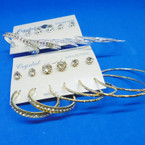 GREAT VALUE Earring Set 6 Pair Gold & Silver Hoops & Crystal Studs .52 per set