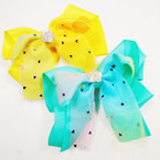 "5"" Layered Gator Clip Bows w/ Sparkle Lace & Stone Center .54 ea"