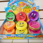"3"" Round Fruit Scent EMOJI Theme Crystal Putty 12 per box .50 each"