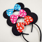 Flashing Mouse Ear Headbands w/ Poka Dot Bow 12 per pk .75 each