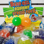 "2.5"" Asst Color Bead Gel Squish/Stress  Balls 12 per display box .62 each"