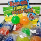 """2.5"""" Asst Color Bead Gel Squish/Stress  Balls 12 per display box .62 each"""