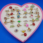 Mixed Style Adjustable Kid's Rings 36 per box .19 each