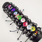 3 Strand Teen Leather Bracelets w/ Colorful Tree of Life   .54 each