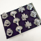 Cast Silver Men's Rings 4 styles per tray (#37)  .54 each