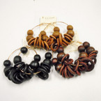 3 Color Jumbo Wood Bead & Disc Fashion Earrings .54 ea