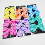 "4 Pack 2.75"" Gator Clip Bows Mixed Pastels .54 per set"