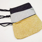 "4.5"" X 7.5"" Sparkle Glitter Cosmetic Wrislet Bags 3 colors .54 each"