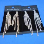 "BEST BUY 3"" Gold & Silver 5 Strand Rhinestone Prom Earrings .58 ea pair"