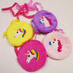 "3.5"" Velveteen Zipper Side Bag w/ Strap UNICORN Theme .54 each"