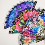 """9"""" Black Handle Fabric Lace Fan w/ Butterfly Garden Theme  12 pk  .54 ea"""