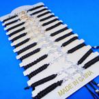 All Black Macrame Bracelet w/ Gold/Silver Crystal Stone Anchor  .54 each