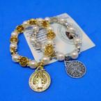 Gold & Silver San Benito Charm Bracelet w/ Pearls .54 each