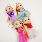 "5"" Doll Keychain w/ Lace Dress & Flower TOO CUTE .56 each"