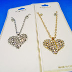 Gold & Silver Chain Neck Set w/ Crystal Stone Heart Pend. .54 ea set