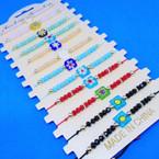 Light Color Cord Bracelet w/ Mini Beads & Glass Flower  .54 ea