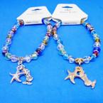 Multi Color Cry. Bead Bracelets w/ Starfish & Mermaid Charms .54 ea