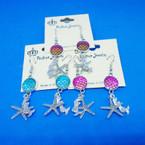 Under the Sea Theme Silver Charm Earrings  .54 each