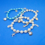 Under the Sea Charm Pearl Bracelets Gold/Sil Charms .54 ea