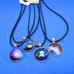Black Cord Necklace w/ Asst Style Galaxy Theme Pendants .54 each