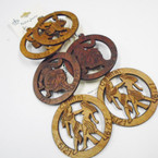 "2.5"" Rd Wood Zodiac Theme Fashion Earrings .54 ea"