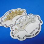 """2.5"""" Gold & Silver Crown Theme Crystal Stone Auto Hair Pins .54 each"""